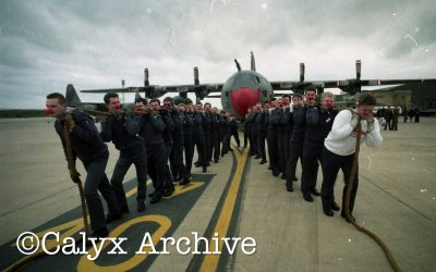 PFP OTD 1991 Airman pulled a C130 Hercules with a red nose at RAF Lyneham.